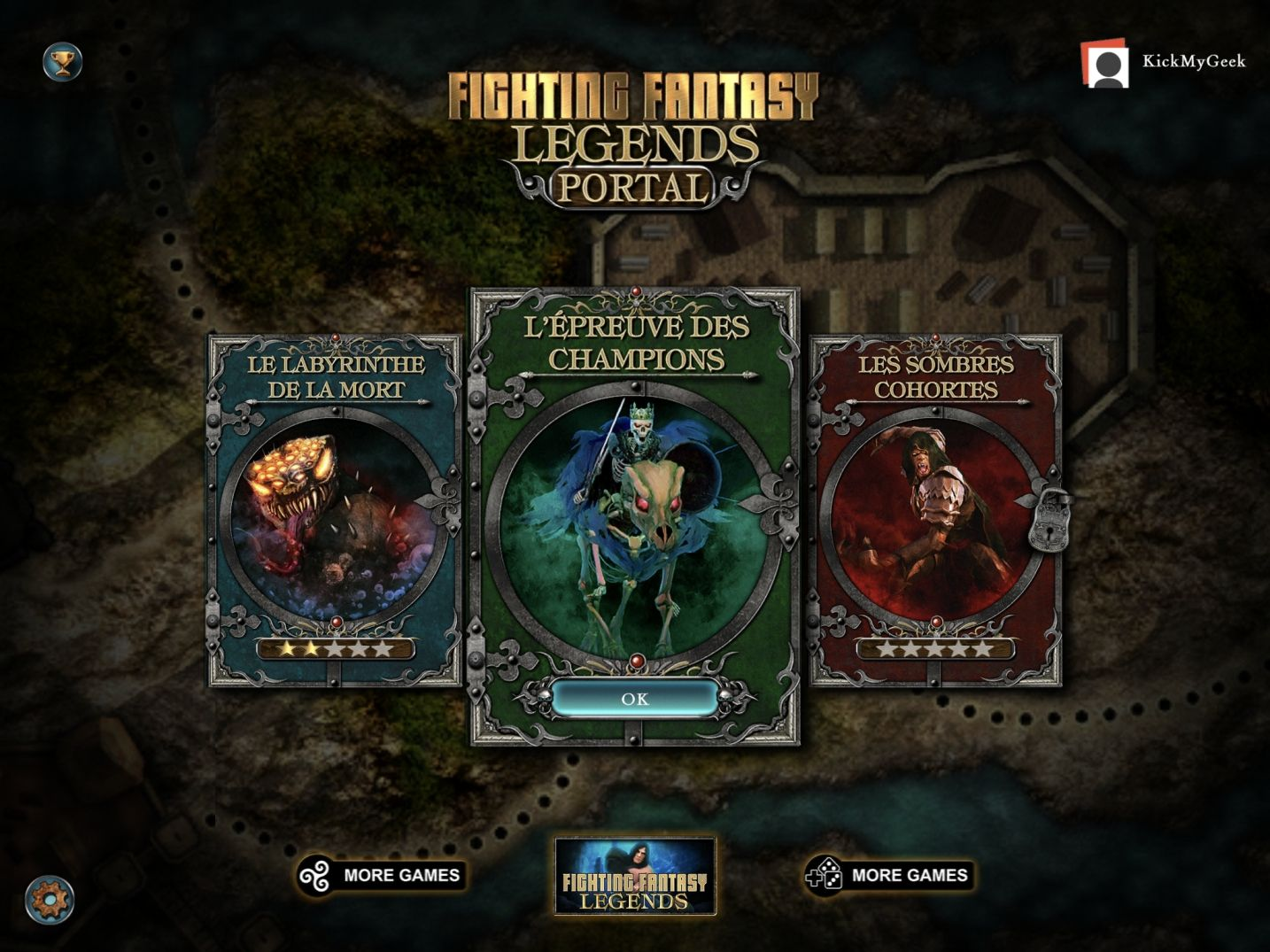 Fighting Fantasy Legends Portal (copie d'écran 1 sur iPhone / iPad)