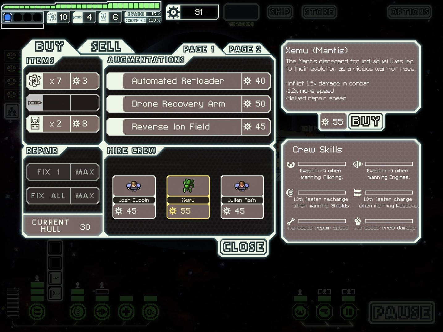 FTL: Faster Than Light (copie d'écran 12 sur iPad)